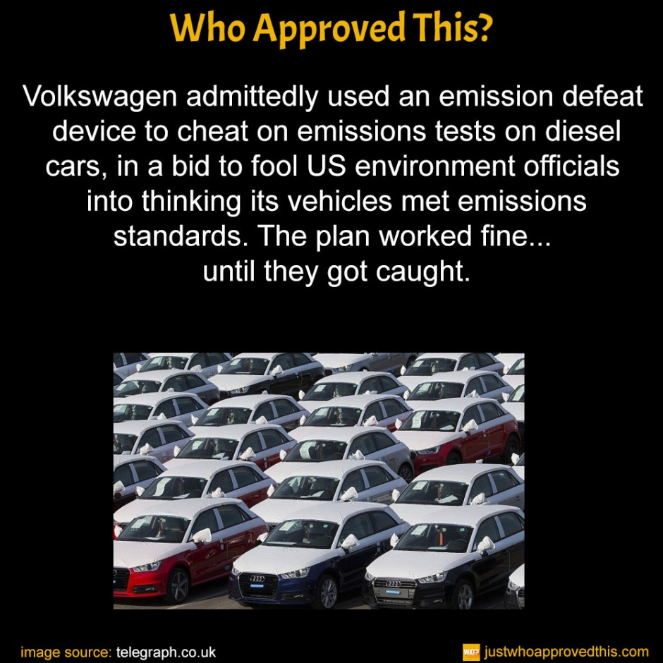 Volkswagen admittedly used an emission defeat device to cheat on emissions tests on diesel cars, in a bid to fool US environment officials into thinking its vehicles met emissions standards. The plan worked fine... until they got caught.